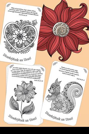 Színezd ki a zsoltárokat - 16 különböző színezős kártya, idézetekkel a Zsoltárok könyvéből