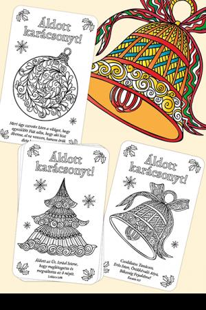 Karácsonyi színezős kártyák - 16 különböző igés üdvözlőlap